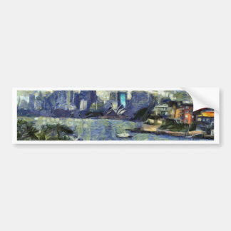 Painting of the Sydney  watery landscape Bumper Sticker