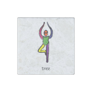Painting of tree yoga pose with Sanskrit text. Stone Magnets