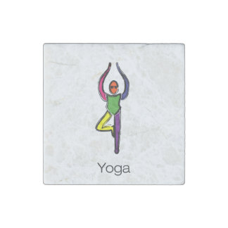 Painting of tree yoga pose with yoga text. stone magnets