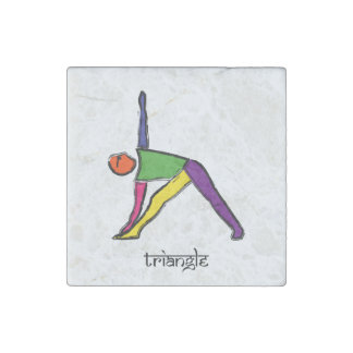 Painting of triangle yoga pose with Sanskrit text. Stone Magnets