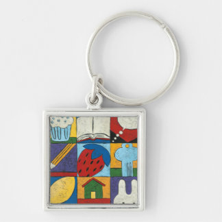 Painting of Various Objects by Chariklia Zarris Silver-Colored Square Keychain