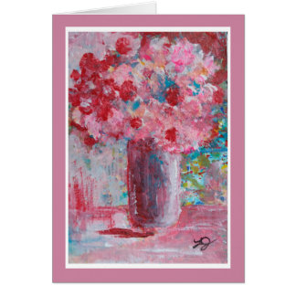 Painting of Vase of Pink Flowers Greeting Card