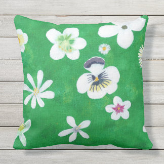 Painting of White Flowers Green Outdoor Pillows