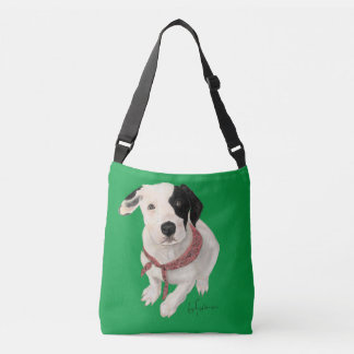 Painting of white puppy black spot on green crossbody bag
