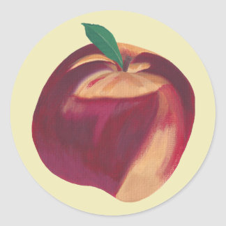 Painting of Whole Ripe Peach, Fruit Stickers