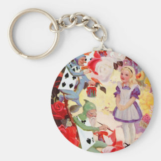 PAINTING THE QUEEN OF HEART'S ROSES RED KEYCHAIN