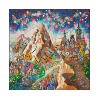 Painting with a mountains canvas print
