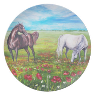 painting with horses dinner plate