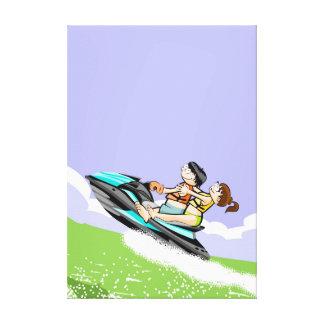 Pair enjoying a stroll in its jet ski canvas print