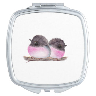 Pair of baby birds pink robins watercolor painting makeup mirrors