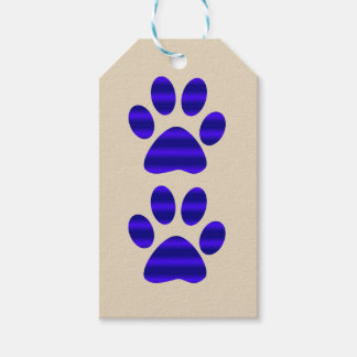 Pair of Blue Gradient Paw Prints Gift Tags