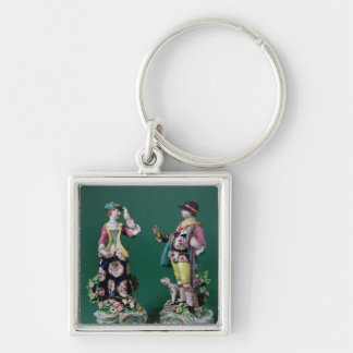 Pair of Bow figures of a Sportsman Silver-Colored Square Keychain