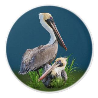 Pair of Brown Pelicans Customizable Ceramic Knob