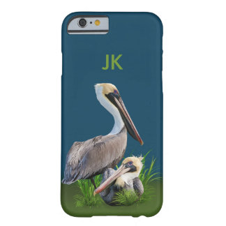 Pair of Brown Pelicans Customizable Monogram Barely There iPhone 6 Case