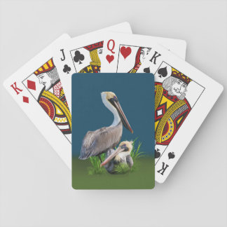 Pair of Brown Pelicans Customizable Playing Cards