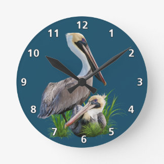 Pair of Brown Pelicans, Customizable Round Clock