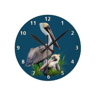 Pair of Brown Pelicans, Customizable Wallclock