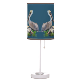 Pair of Brown Pelicans Desk Lamps
