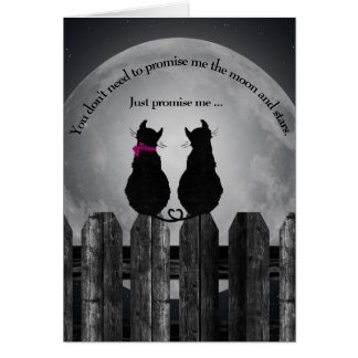 pair of cats in the moonlight card