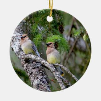 Pair of Cedar Waxwings Round Ceramic Ornament