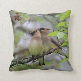Pair of Cedar Waxwings Throw Pillow