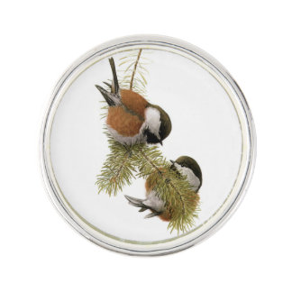 Pair of Chestnut-backed Chickadee on Pine Tree Lapel Pin
