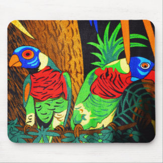 Pair of Colorful Parakeets Mouse Pad