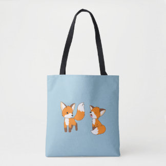 Pair of Cute Little Foxes Tote Bag