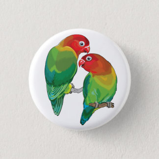 "pair of fischer""s lovebirds 1 inch round button"