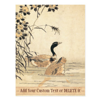 Pair of Geese with Camellias vintage japanese art Postcard