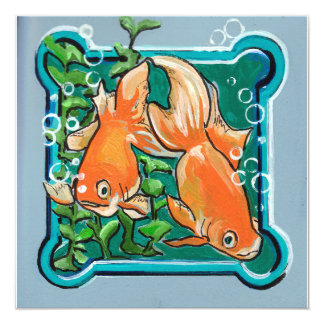 Pair of Goldfish and greens Card