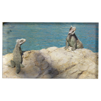 Pair of Iguanas Tropical Wildlife Photography Table Card Holder