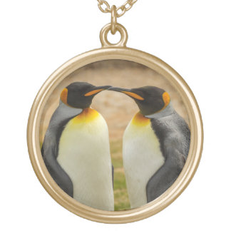 Pair of King Penguins, Falklands Gold Plated Necklace