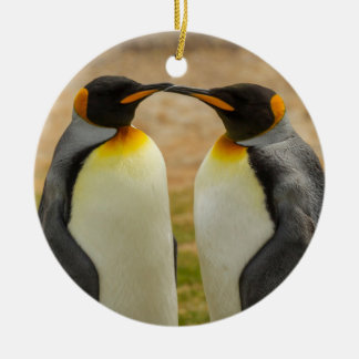 Pair of King Penguins, Falklands Round Ceramic Ornament