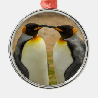 Pair of King Penguins, Falklands Silver-Colored Round Ornament