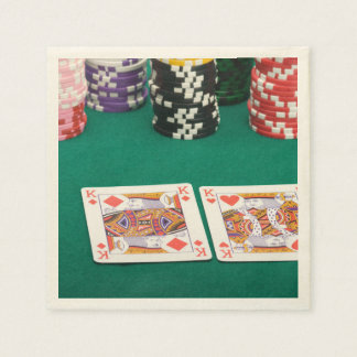 Pair of Kings on Card Table Paper Napkin