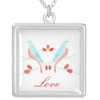 Pair of Love Birds Silver Plated Necklace