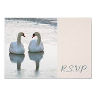 Pair of Lovebird Swans Gazing Wedding RSVP Card