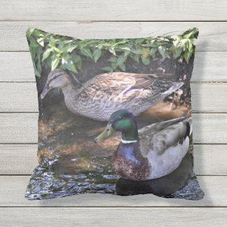 Pair of Mated Mallard Ducks Outdoor Pillow