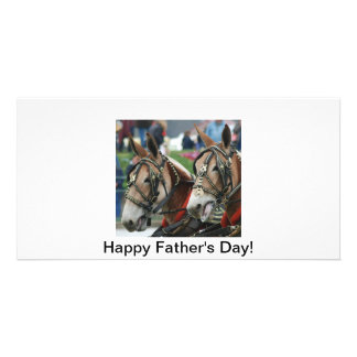 Pair of mules personalized photo card