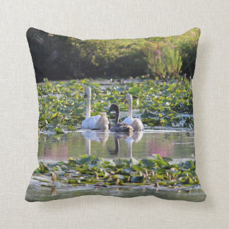 Pair of Mute Swans and cygnet Throw Pillow