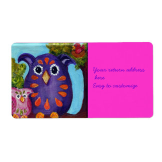 Pair of Owl Pals Address Sticker Shipping Label