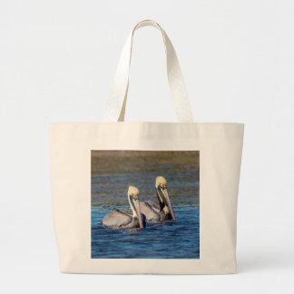 Pair of Pelicans Large Tote Bag