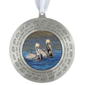 Pair of Pelicans Pewter Ornament