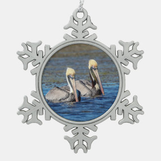 Pair of Pelicans Snowflake Pewter Christmas Ornament