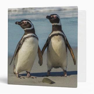 Pair of penguins on the beach vinyl binder