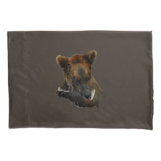 Pair of Pillowcases, Standard Size  w/ grizzly Pillowcase