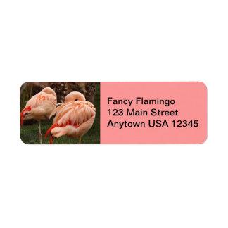 Pair of Pink Flamingos Return Address Label