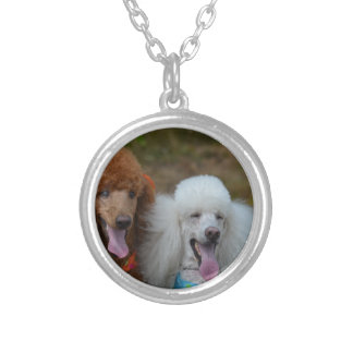 Pair of Poodles Silver Plated Necklace