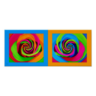 Pair of PopArt Roses with Blue and Orange Framing Poster